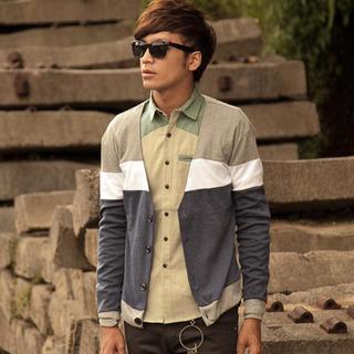 V-neck Color-block Cardigan