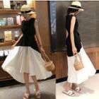 Sleeveless Midi Color Block A-line Dress