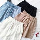 Plain Elastic-waist Linen Shorts
