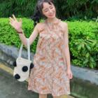 Sleeveless Printed Mini Dress