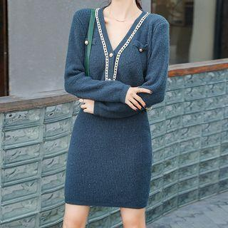 Set: Embellished Cardigan + Mini Fitted Skirt Bluish Green - One Size