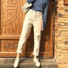 Fleece-lined High Waist Straight-cut Pants