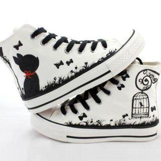 Painted Lace-up High-top Canvas Sneakers (shoeslace Color Ramdon )