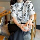 Short-sleeve Argyle Print Knit Top