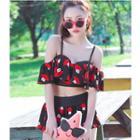 Set: Printed Ruffle Swim Top + Swim Skirt
