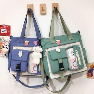 Pvc Panel Two-tone Messenger Bag