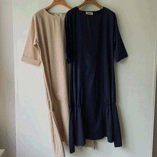 Short-sleeve Shirred-hem Dress