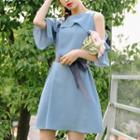 Cutout Shoulder Ruffle Trim Elbow-sleeve Dress