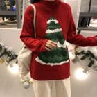 X'mas Tree Printed Knit Top