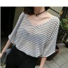 Striped Elbow Sleeve V-neck Knitted T-shirt