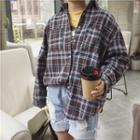 Lettering Embroidered Panel Plaid Shirt
