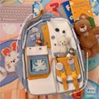 Color Block Pvc Panel Multi-section Backpack