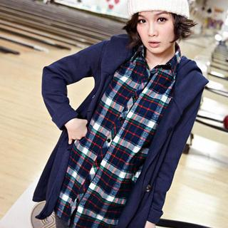 Tab-sleeve Plaid Long Shirt