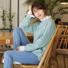 Drop-shoulder Eyelet-lace Sweatshirt