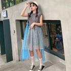 Irregular Sleeveless Plaid Dress