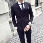 Set: Pinstriped Double-breasted Blazer + Vest + Dress Pants