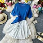 Knit Panel Short-sleeve Chiffon Dress