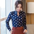 Dotted Split Neck Blouse