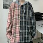 Color Panel Hooded Plaid Shirt