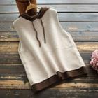 Two-tone Hooded Knit Vest