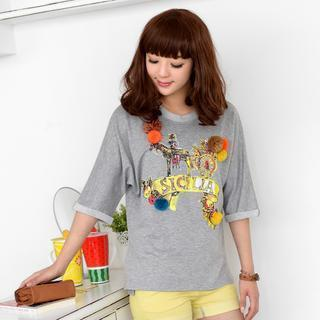 Elbow-sleeve Pompom-accent Printed Top