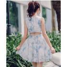 Cutout Back Printed Sleeveless Dress