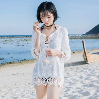 Crochet Trim 3/4-sleeve Cover-up Top