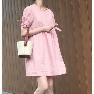 Bow Sleeve Plain Dress