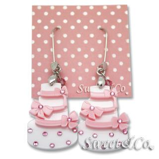 Sweet Pink Dolly Cake Swarovski Dangle Earrings Pink - One Size