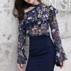 Long-sleeve Cold Shoulder Ruffled Floral Chiffon Top