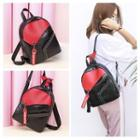 Faux Leather Colored Panel Backpack Black - One Size