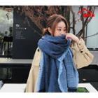 Fringed Knit Shawl Blue - One Size