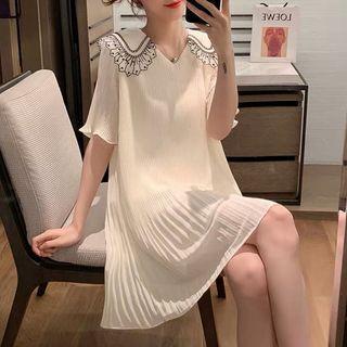 Collared Elbow-sleeve Chiffon Dress