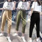 Paperbag High-waist Pants With Belt