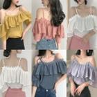 Short-sleeve Lace Trim Cold-shoulder Ruffle Top
