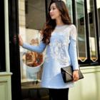 Lace Mesh Panel Long Top
