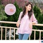 Gather-sleeve Sweetheart Embroidered Top