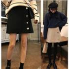 Mini A-line Buttoned Skirt