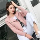 Faux Leather Lapel Zip-side Jacket