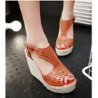 Cutout Woven Platform Wedge Sandals