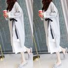 Bow Accent Side Slit Long Pullover