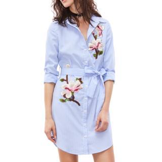 Embroidery Pinstripe Gather-waist Shirtdress
