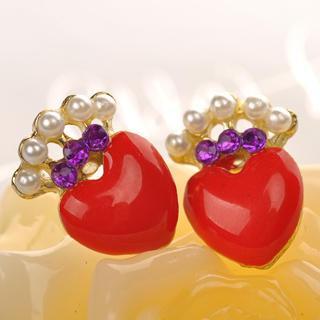 Heart-shaped Earrings  Red - One Size