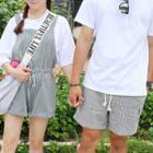 Couple Matching Striped Jumper Shorts / Striped Drawstring Shorts