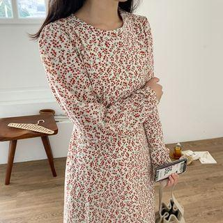 Round-neck Floral Long Dress