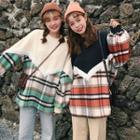 Color-block Plaid Pullover