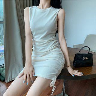 Sleeveless Drawstring Plain Slim Fit Dress Almond - One Size