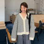 Patterned Wool Blend Cardigan