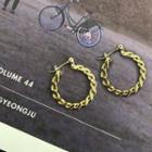 Chain Hoop Earrings Gold - One Size