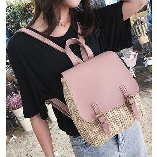 Woven Faux-leather Panel Backpack